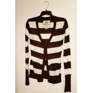 Brown & White Striped Cardigan Sweater Button Up